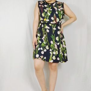 Victoria Beckham Floral Fit and Flare Dress